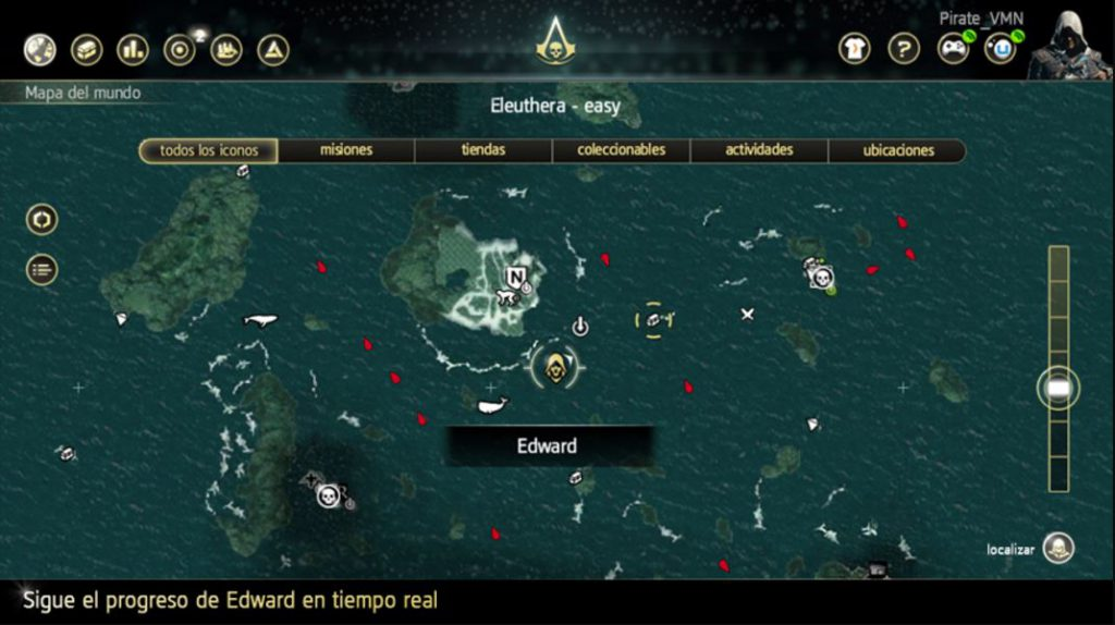 Mapa del videojuego Assassins Creed Black Flag, visto desde el móvil