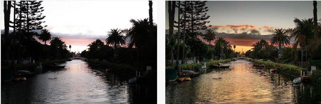 Comparativa de dos fotos iguales, una de ellas editada por la cámara de fotos Relonch