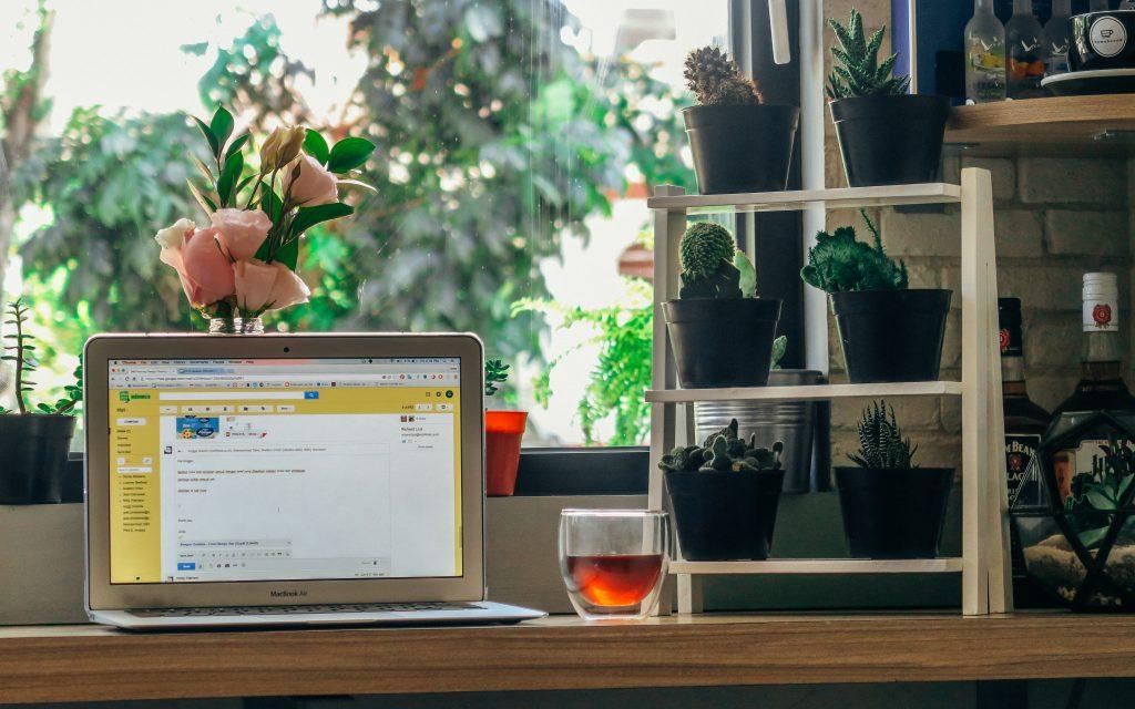 Portátil con té encima de un escritorio