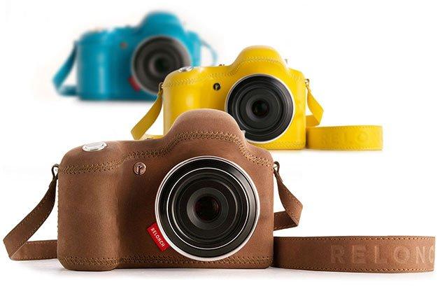 Una cámara relonch marrón, detrás una amarilla y detrás una azul