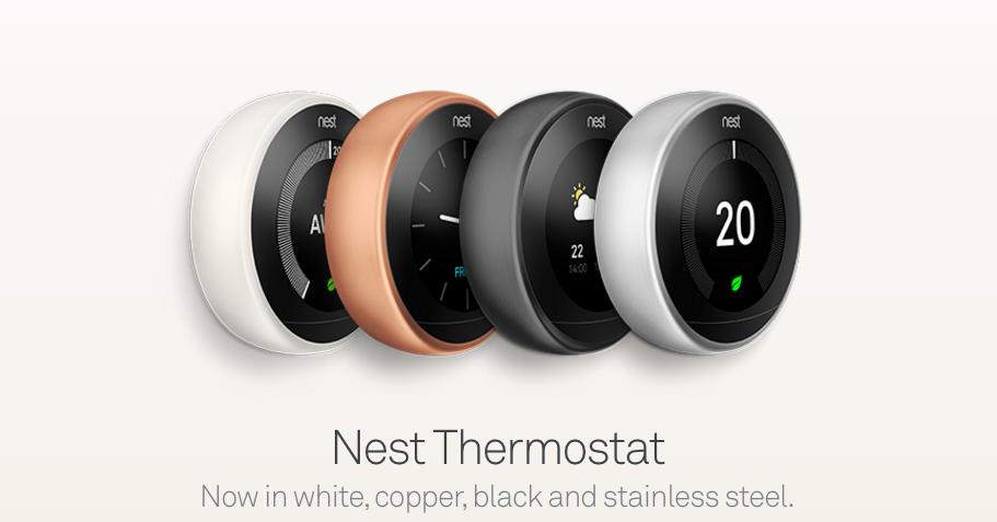 Termostato inteligente Nest en cuatro colores